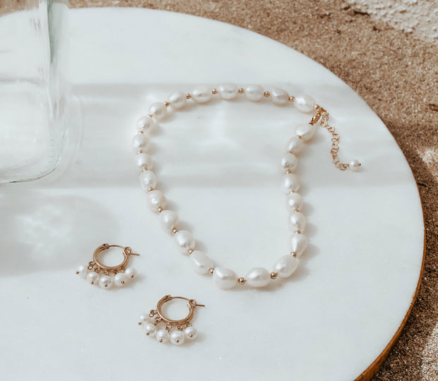 Pearl Choker and Earrings