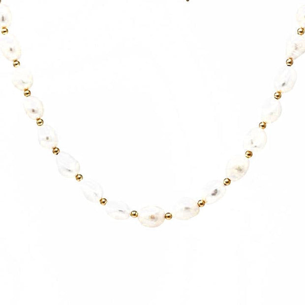 Athena Collar. 14K Gold Fill beads with Baroque Pearls Collar. Non-Tarnish and Water Safe.