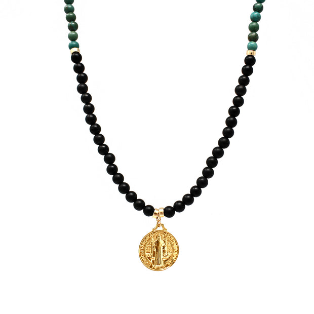 Benny Necklace. 18K Gold Fill Saint Benedict Pendant with Black Onyx and Turquoise Howlite. Non-Tarnish and Water Safe.