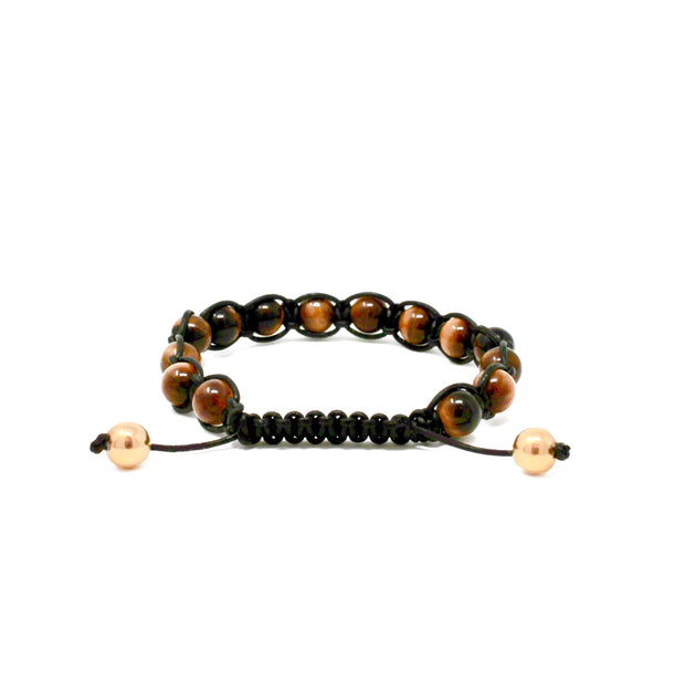 Machli bracelet. 14k gold filled. Tigers eye. Woven leather cord. Macreme.