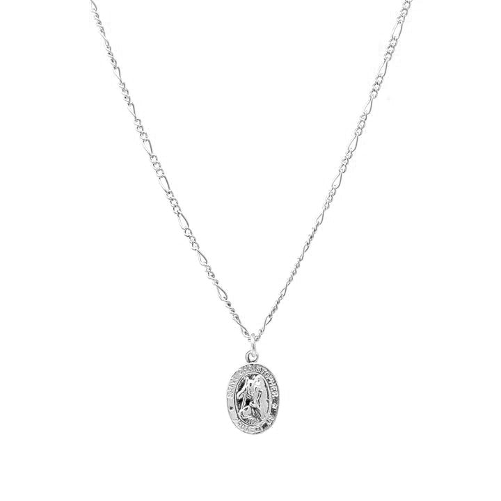 Saint Christopher necklace. Sterling silver. Medallion. Religious. Non tarnish. Water safe.