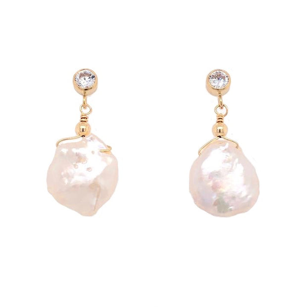 Womens Jewelry Handmade in Hawaii, 14k Gold filled earrings with Keshi pearls, diamonds, CZ's Cubic Zirconia