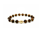 The Big Tommy bracelet. 14k gold filled. Non tarnish. Water safe. Stretch elastic cord. 8mm tigers eye beads.