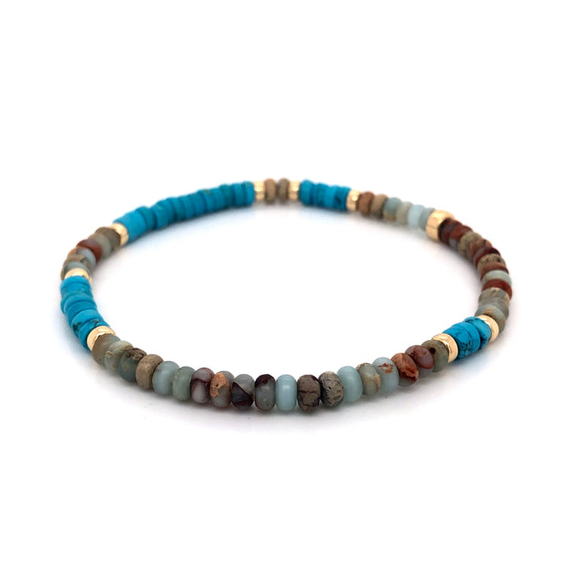 THE SKYLINE BRACELET • TURQUOISE HOWLITE AND OPAL