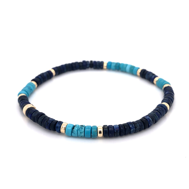 The Skyline Bracelet • Lapis Lazuli and Turquoise Howlite