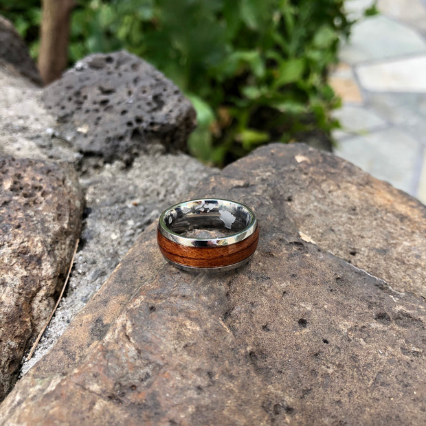 The warrior koa ring. 925 sterling silver. Wood. Hawaiian islands. Engraving. Men. Non tarnish. Water safe.