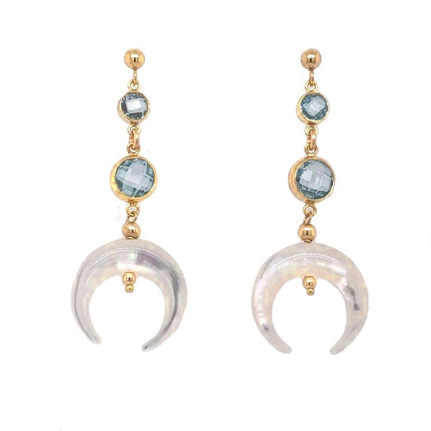 Women's Jewelry Handmade in Hawaii, 14k Gold Filled Earrings, Mother of Pearl Pendants, CZ's Cubic Zirconia