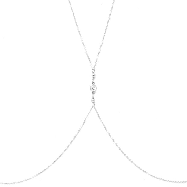 Tia bodychain. Sterling silver. Cubic zirconia. Non tarnish. Water safe.
