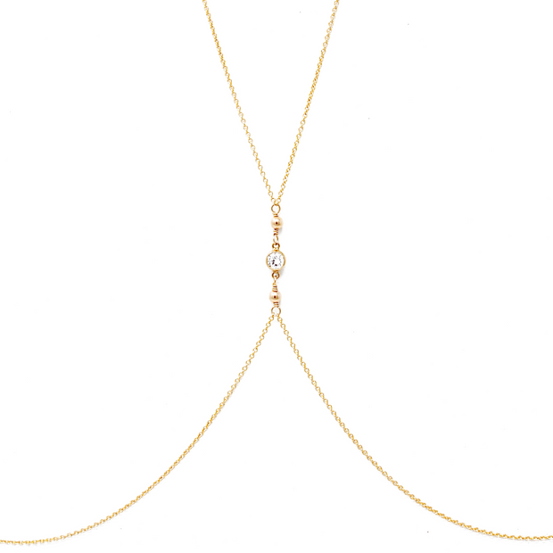 Tia bodychain. 14k gold filled. Cubic zirconia. Non tarnish. Water safe.