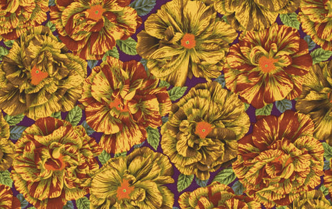 "Philip Jacobs Bouffant PWPJ061 Brown Floral Kaffe Fassett Collective Designer Quilting 18"" BTHY Rowan Westminster Half Yard Quilt Fabric"