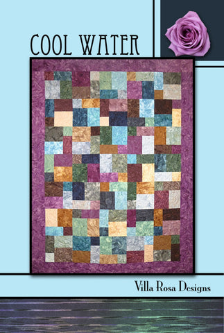 "COOL WATER 45""x63"" or 56""x74"" FQ Fat Quarter Scrap Friendly Beginner Patchwork Quilt Quilting Lap Throw size Pattern Villa Rosa Fryer"