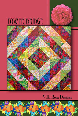 "TOWER BRIDGE 54"" Fat Sixth Layer Cake Scrap Friendly Beginner Patchwork Quilt Quilting Crib Throw Wall size Pattern Villa Rosa Pat Fryer FQ"