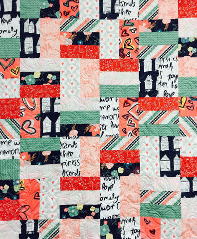 "BUSY BEE 45""x54"" Fat Quarter Scrap Friendly Beginner Patchwork Quilt Quilting Lap Crib Throw Size Pattern Villa Rosa Fryer FQ"