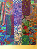 "SPICE DROP Blues 54""x72"" Patchwork Easy Fast Quilt Top Kit In a Day+ binding Quilting Fabric Kit Binding Kaffe Fassett Brandon Mably Jacobs"