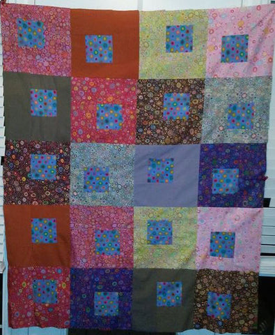 "SALE SUMMER SONG Dots 46""x58"" Patchwork Easy Quilt Top Kit In a Day+ binding Quilting Fabric Kit Kaffe Fassett Collective Classics Mably"