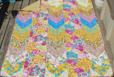 Remember Me 60x72 Patchwork EASY FAST Quilt Top In A DAY Kit Citrus Kaffe Fassett Negley Mably Philip Jacobs w/ Binding