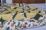 "Handcrafted Fruit Floral 80"" Queen Kaleidoscope Long-Arm Patchwork Quilt Queen Size Reversible Handmade"