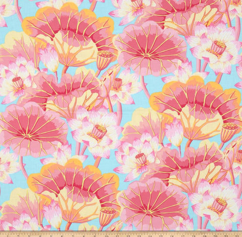 "Kaffe Fassett Lake Blossoms PWGP093 PINK Classic New BTHY Rowan Westminster Fasset Collective Half Yard 18"" Quilt Fabric"