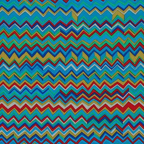 "Brandon Mably PWBM043.COOL Zig Zag Cool Blue Kaffe Fassett Collective FQ FAT Quarter Rowan Westminster 18""x22"" Classic Quilt Fabric"