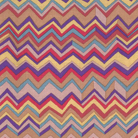 "Brandon Mably PWBM043.RARE Zig Zag Rare Brown Kaffe Fassett Collective FQ FAT Quarter Rowan Westminster 18""x22"" Classic Quilt Fabric"