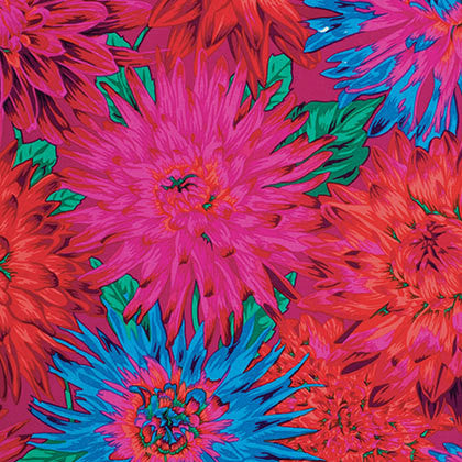"Philip Jacobs PWPJ054.REDXX Cactus Dahlia Red BTHY Half Yard Kaffe Fassett Collective Designer Quilting 18"" Rowan Westminster Quilt Fabric"