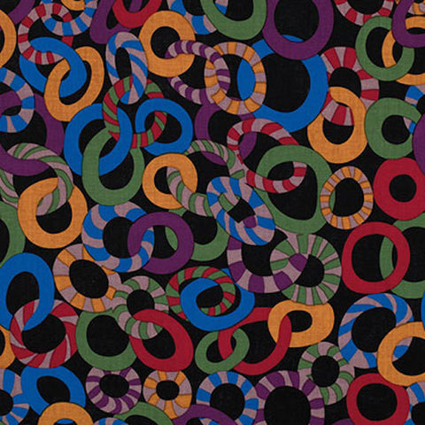 "Brandon Mably PWBM040 Jolly Black Kaffe Fassett Collective Designer Quilting 18"" BTHY Rowan Westminster Half Yard 18"" Quilt Fabric HY"