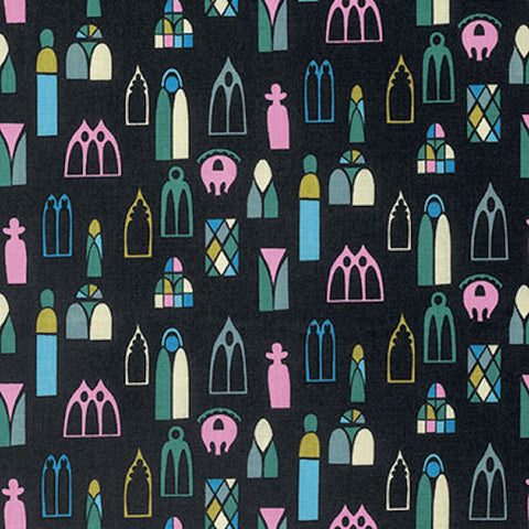 "PWAH098.MIDNI Anna Maria Horner Fibs & and Fables Escape Midnight Windows Quilting 18"" BTHY Rowan Westminster Half Yard 18"" Quilt Fabric HY"