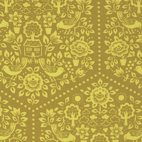 "PWHB057.GINGE Heather Bailey Clementine Summer House Ginger Tonal Quilting 18"" BTHY Rowan Westminster Half Yard 18"" Quilt Fabric HY Floral"