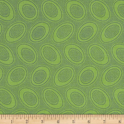 "Kaffe Fassett GP71 Aboriginal Dot LEAF Green Blue Polka Dots FQ FAT Quarter Rowan Westminster Fasset Collective 18""x22"" Classic Quilt Fabric"