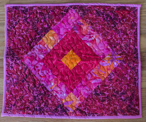 "14.5"" x 17"" Hand-Dyed Pink Diamond Batik Handcrafted Textile Art Quilt Placemat Mug Rug Reversible Table Accent Home Decor"