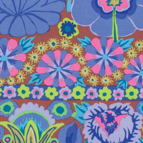 "Kaffe Fassett PWKF001.BLUE Artisian Embroidered Flower Border Blue Quilting 18"" BTHY Rowan Floral Westminster Half Yard 18"" Quilt Fabric"