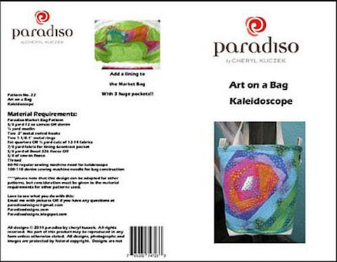 PARADISO Art on a Bag Quilted Kaleidoscope 22 Tote Bag w/ Strap Purse Pattern Scrap Friendly Beginner Sewing Cheryl Kuczek