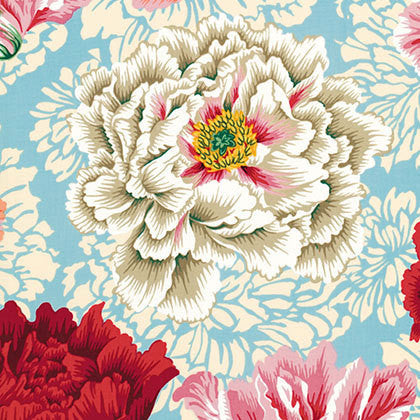 "Philip Jacobs PWPJ062 Brocade Peony Natural Kaffe Fassett Collective Designer Quilting 18"" BTHY Rowan Westminster Half Yard 18"" Quilt Fabric"
