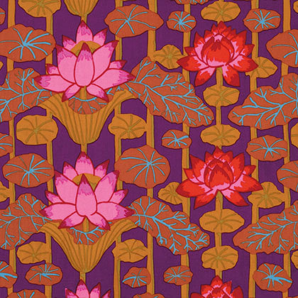 "Kaffe Fassett Lotus Stripe PWGP140 Red Collective Floral New BTHY Rowan Westminster Fasset Half Yard 18"" Quilt Fabric"