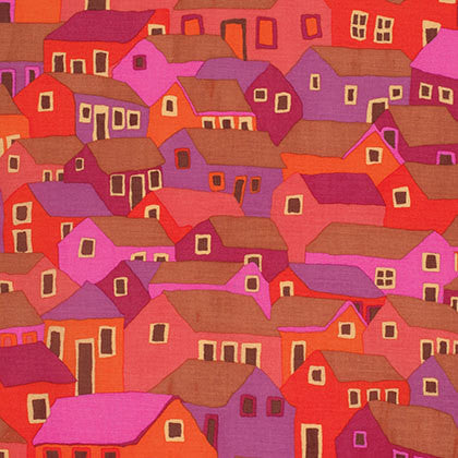 "Brandon Mably PWBM047 Shanty Town Red Kaffe Fassett Collective Designer Quilting 18"" BTHY Rowan Westminster Half Yard 18"" Quilt Fabric HY"