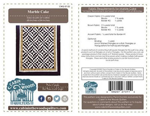 MARBLE CAKE 68X84 Simple Cabin In the Woods Quilt In a Day Patchwork Quilting Pattern Sewing Beginner Easy Fast
