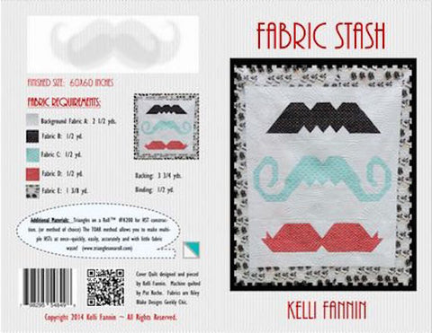 "Fabric Stash Mustache 60"" Art Patchwork Quilt Quilting Pattern Modern Mod Juvenile Retro Kids Children's Wall Lap Throw Kelli Fannin"