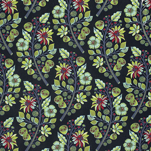 Tula Pink PWTP056 Moonshine Sprout Midnight Navy Blue Quilting BTHY Rowan Westminster Half Yard Quilt Fabric Modern Floral Moon Shine