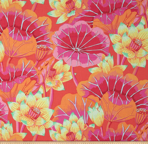 "Kaffe Fassett Lake Blossoms PWGP093 Magenta Classic New BTHY Rowan Westminster Fasset Collective Half Yard 18"" Quilt Fabric"