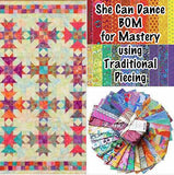 SHE CAN DANCE Facebook Monthly Quilt-Along Club Fabric Quilt Block Kit U S A Kaffe Fassett Jacobs Negley Pattern Sewing Quilting Fun