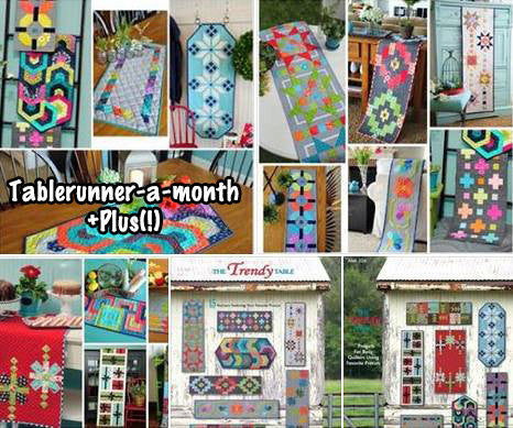 The Trendy Table Tablerunners Facebook Monthly Quilt-Along Club Fabric Quilt Block Kits USA Pattern Sewing Quilting Project Subscription