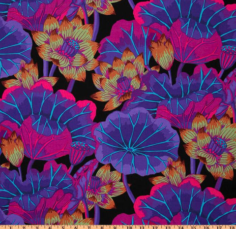 "Kaffe Fassett Lake Blossoms PWGP093 Black Classic New BTHY Rowan Westminster Fasset Collective Half Yard 18"" Quilt Fabric"