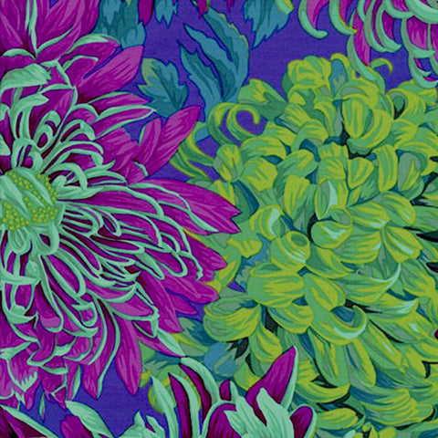 "Philip Jacobs PJ41 Japanese Chyrsanthemum Green Kaffe Fassett Collective Quilting 18"" BTHY Rowan Westminster Half Yard 18"" Quilt Fabric"