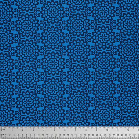 "Amy Butler PWTC022 True Colors Wallflowers Midnight Blue Mod Quilting 18"" BTHY Rowan Westminster Half Yard 18"" Quilt Fabric HY Mod Modern"