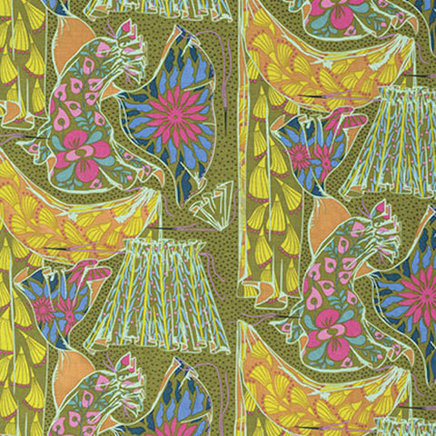 "PWAH095.AMETH Anna Maria Horner Fibs & and Fables Dressmaker Brass Quilting 18"" BTHY Rowan Westminster Half Yard 18"" Quilt Fabric HY Floral"