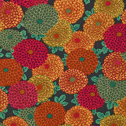 "Philip Jacobs PWPJ060 Joy Brown Floral Kaffe Fassett Collective Designer Quilting 18"" BTHY Rowan Westminster Half Yard 18"" Quilt Fabric"
