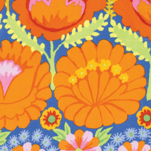 "Kaffe Fassett PWKF001 ORANGE Artisian Embroidered Flower Border Quilting 18"" BTHY Rowan Floral Westminster Half Yard 18"" Quilt Fabric"