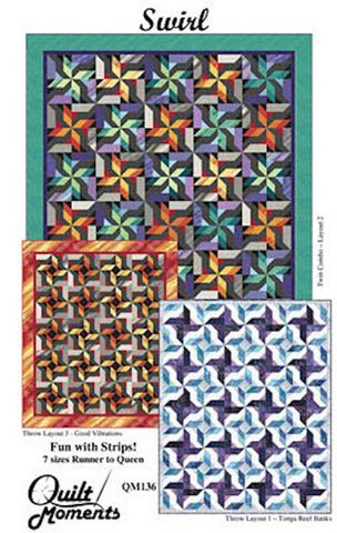 "SWIRL 8 sizes Runner to Queen Jellyroll 2.5"" Strip-Friendly Quilt Moments Patchwork Quilting Pattern Scrappy Sewing Beginner Easy"