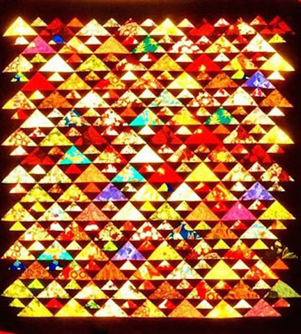 "MAJESTIC MOUNTAINS 65"" Triangles HST Quilt Pattern by Dorie Javier Scrappy Scrap-Friendly ScraFriendly Beginner Patchwork Quilting Scrappy"