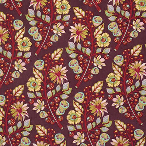 "Tula Pink PWTP056 Moonshine Sprout Jam Burgundy Raspberry Quilting BTHY Rowan Westminster Half Yard 18"" Quilt Fabric Modern Moon Shine"